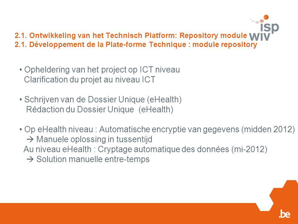 2.1. Ontwikkeling van het Technisch Platform: Repository module 2.1. Développement de la Plate-forme Technique : module repository Opheldering van het