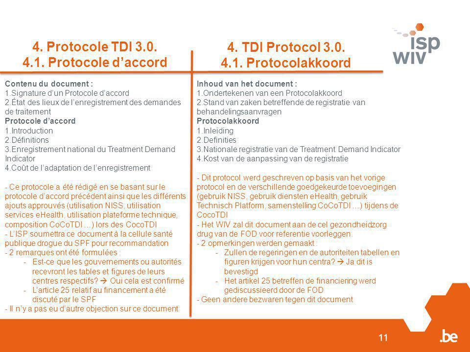 11 Contenu du document : 1.Signature d'un Protocole d'accord 2.État des lieux de l'enregistrement des demandes de traitement Protocole d'accord 1.Introduction 2.Définitions 3.Enregistrement national du Treatment Demand Indicator 4.Coût de l'adaptation de l'enregistrement - Ce protocole a été rédigé en se basant sur le protocole d'accord précédent ainsi que les différents ajouts approuvés (utilisation NISS, utilisation services eHealth, utilisation plateforme technique, composition CoCoTDI …) lors des CocoTDI - L'ISP soumettra ce document à la cellule santé publique drogue du SPF pour recommandation - 2 remarques ont été formulées : -Est-ce que les gouvernements ou autorités recevront les tables et figures de leurs centres respectifs.