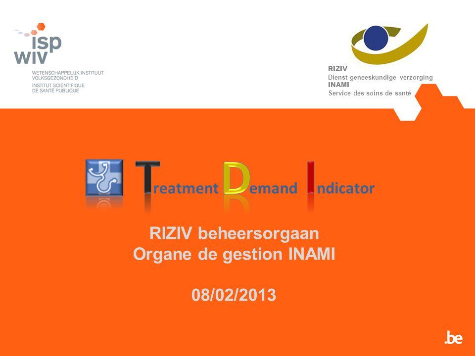RIZIV beheersorgaan Organe de gestion INAMI 08/02/2013 RIZIV Dienst geneeskundige verzorging INAMI Service des soins de santé