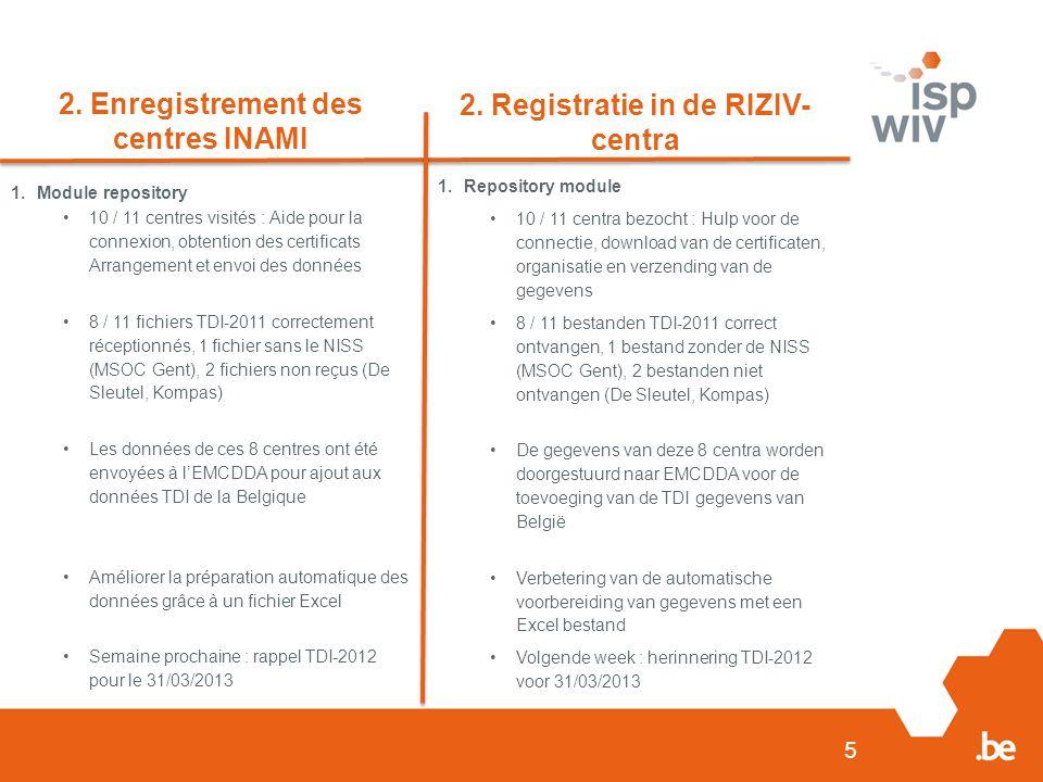 5 2. Enregistrement des centres INAMI 2.