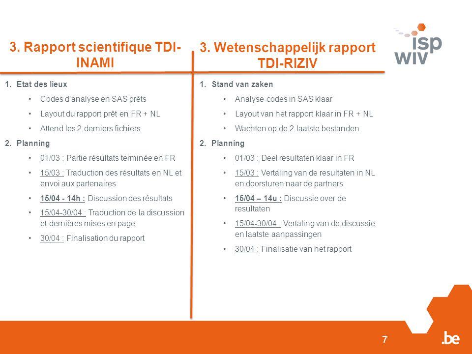 7 3. Rapport scientifique TDI- INAMI 3. Wetenschappelijk rapport TDI-RIZIV 1.Etat des lieux Codes d'analyse en SAS prêts Layout du rapport prêt en FR