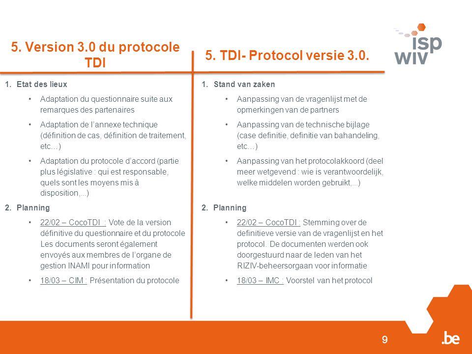 9 5. Version 3.0 du protocole TDI 5. TDI- Protocol versie 3.0.