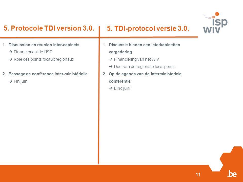 11 5. Protocole TDI version 3.0. 5. TDI-protocol versie 3.0. 1.Discussion en réunion inter-cabinets  Financement de l'ISP  Rôle des points focaux ré