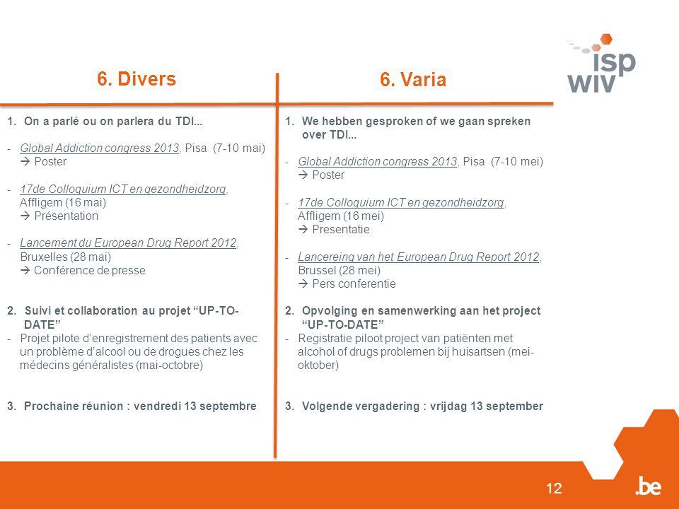 12 6. Divers 6. Varia 1.On a parlé ou on parlera du TDI... -Global Addiction congress 2013, Pisa (7-10 mai)  Poster -17de Colloquium ICT en gezondhei