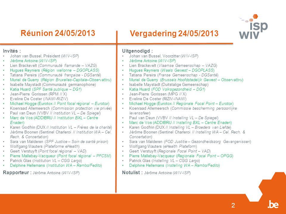 2 Réunion 24/05/2013 Vergadering 24/05/2013 Invités : Johan van Bussel, Président (WIV-ISP) Jérôme Antoine (WIV-ISP) Lien Brackevelt (Communauté flama
