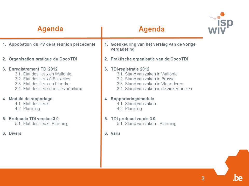 3 Agenda 1.Appobation du PV de la réunion précédente 2.Organisation pratique du CocoTDI 3.Enregistrement TDI 2012 3.1. Etat des lieux en Wallonie 3.2.