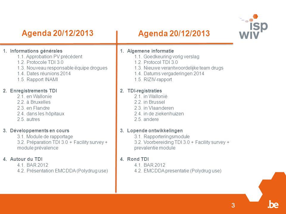 3 Agenda 20/12/2013 1.Informations générales 1.1. Approbation PV précédent 1.2.