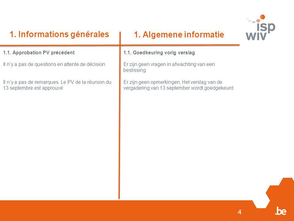 4 1. Informations générales 1. Algemene informatie 1.1.