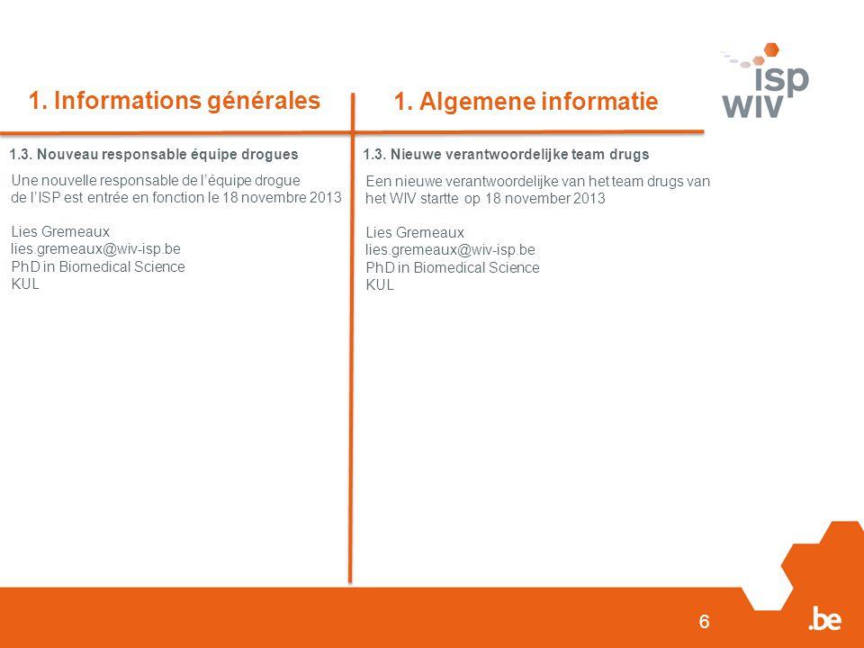 6 1. Informations générales 1. Algemene informatie 1.3.
