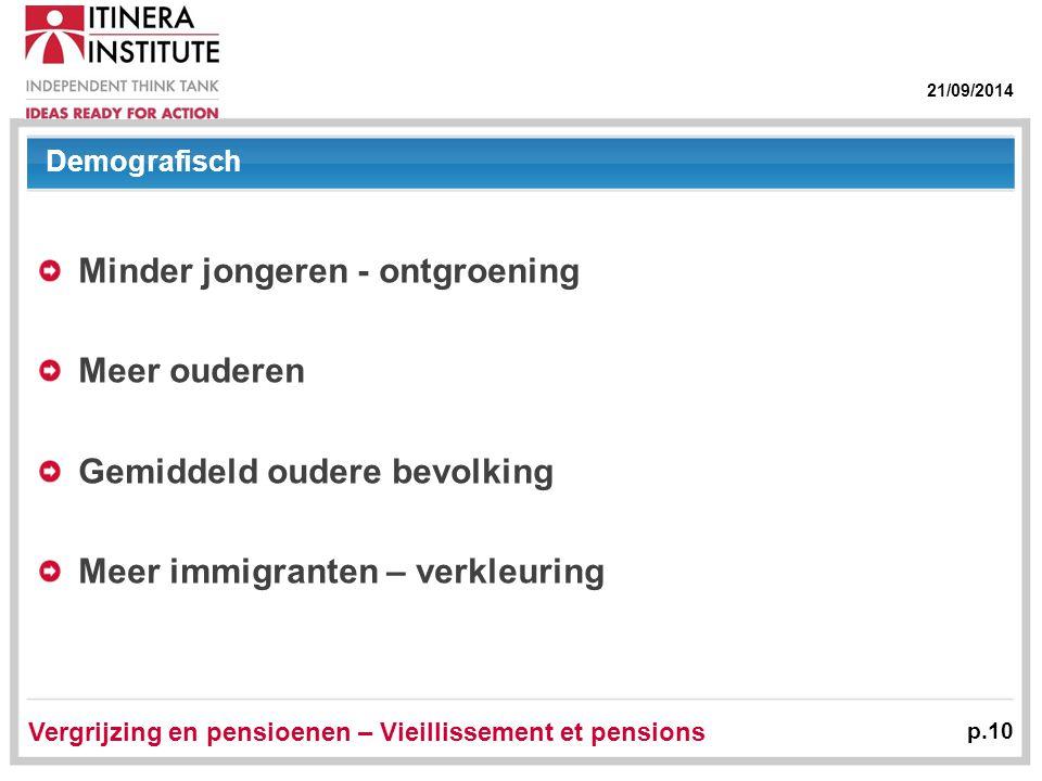 21/09/2014 Vergrijzing en pensioenen – Vieillissement et pensions p.10 Demografisch Minder jongeren - ontgroening Meer ouderen Gemiddeld oudere bevolk