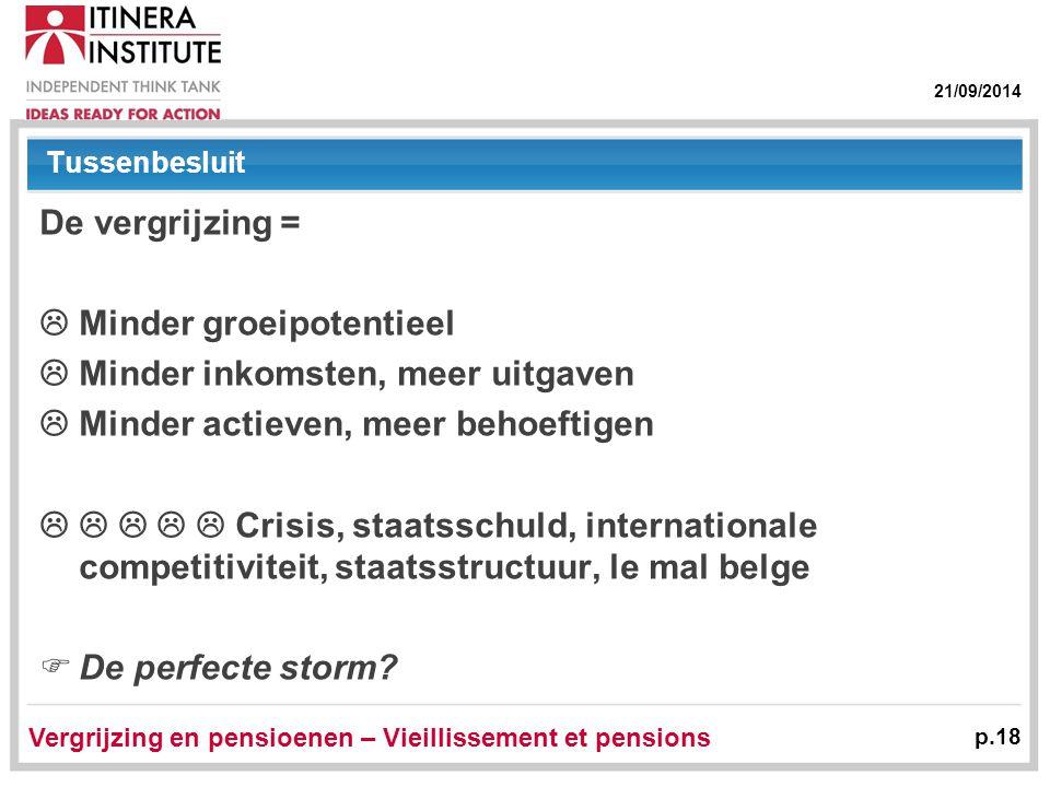 21/09/2014 Vergrijzing en pensioenen – Vieillissement et pensions p.18 Tussenbesluit De vergrijzing =  Minder groeipotentieel  Minder inkomsten, mee