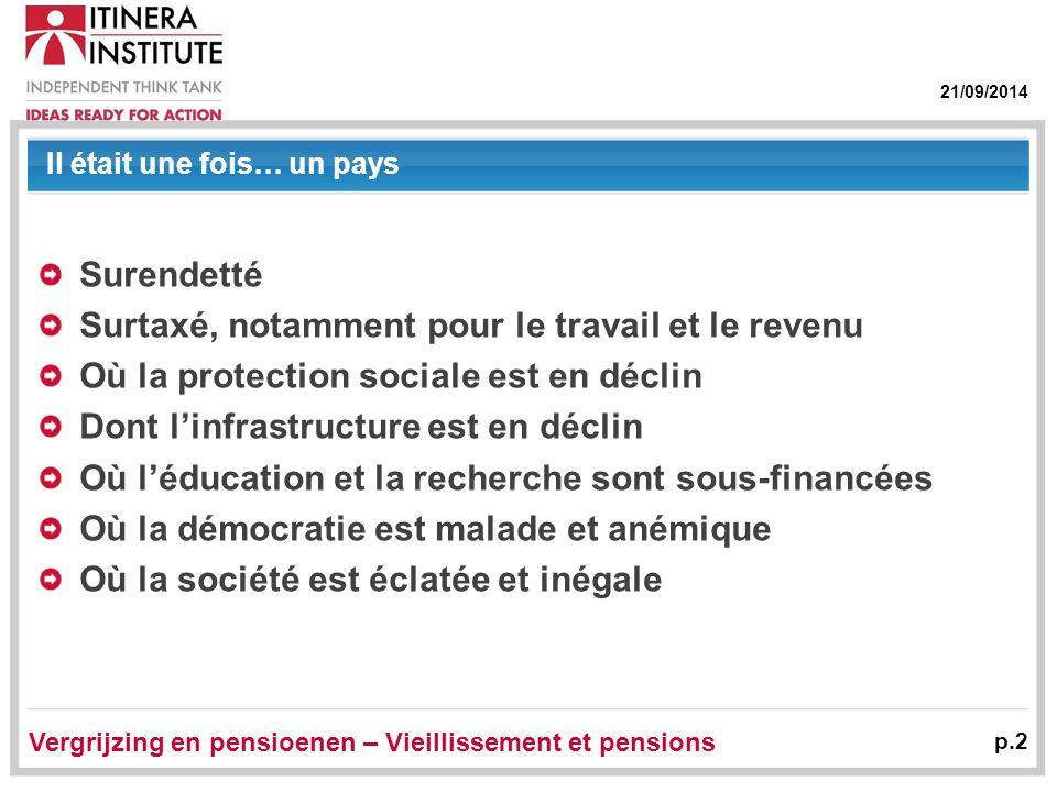 21/09/2014 Il était une fois… un pays Surendetté Surtaxé, notamment pour le travail et le revenu Où la protection sociale est en déclin Dont l'infrast
