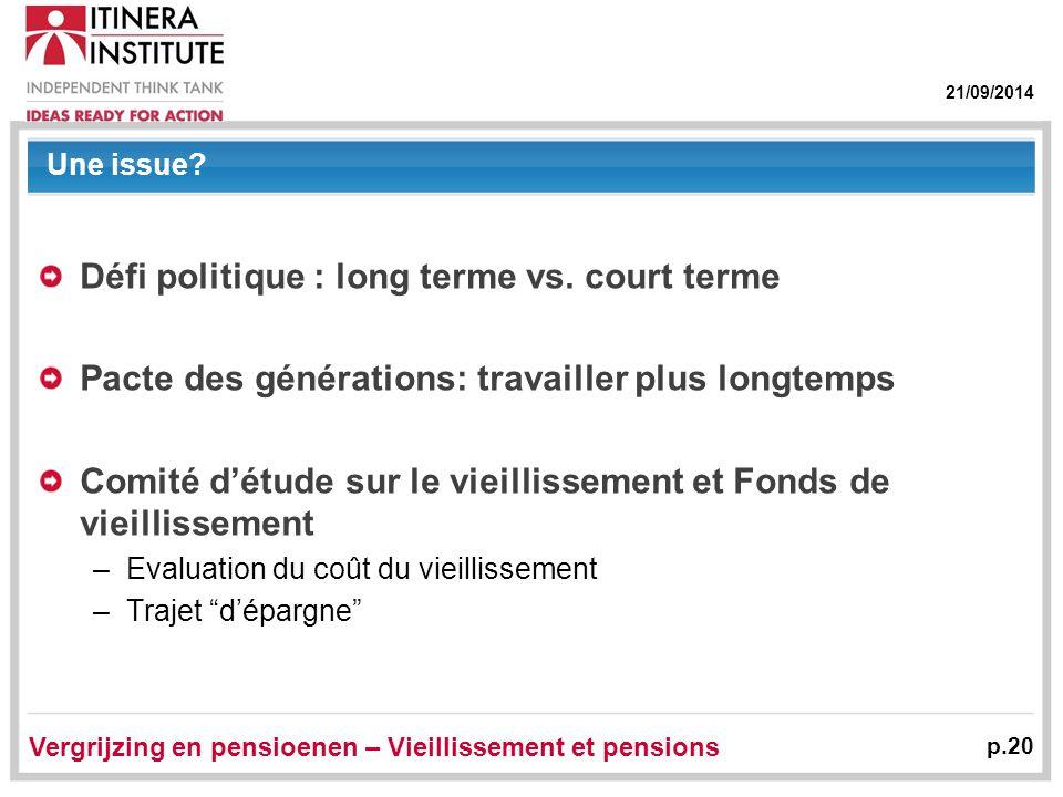 21/09/2014 Vergrijzing en pensioenen – Vieillissement et pensions p.20 Une issue? Défi politique : long terme vs. court terme Pacte des générations: t