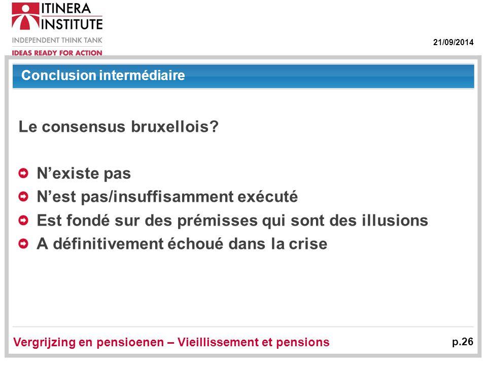 21/09/2014 Vergrijzing en pensioenen – Vieillissement et pensions p.26 Conclusion intermédiaire Le consensus bruxellois? N'existe pas N'est pas/insuff