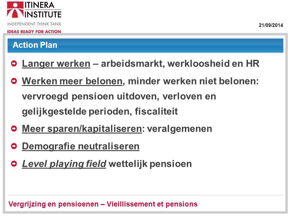 21/09/2014 Action Plan Langer werken – arbeidsmarkt, werkloosheid en HR Werken meer belonen, minder werken niet belonen: vervroegd pensioen uitdoven,