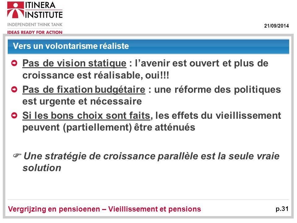 21/09/2014 Vergrijzing en pensioenen – Vieillissement et pensions p.31 Vers un volontarisme réaliste Pas de vision statique : l'avenir est ouvert et plus de croissance est réalisable, oui!!.