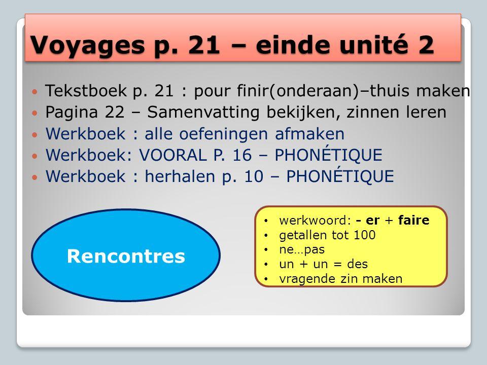 Voyages p. 21 – einde unité 2 Tekstboek p.