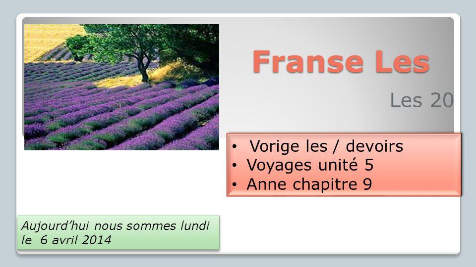 Vorige les Voyages p.32/33 - spel éoliennes Anne chapitre 8 Voyages p.
