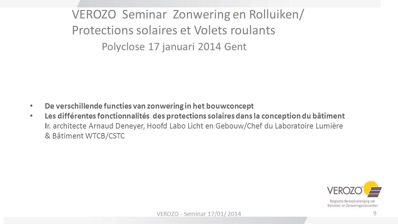VEROZO Seminar Zonwering en Rolluiken/ Protections solaires et Volets roulants Polyclose 17 januari 2014 Gent De verschillende functies van zonwering
