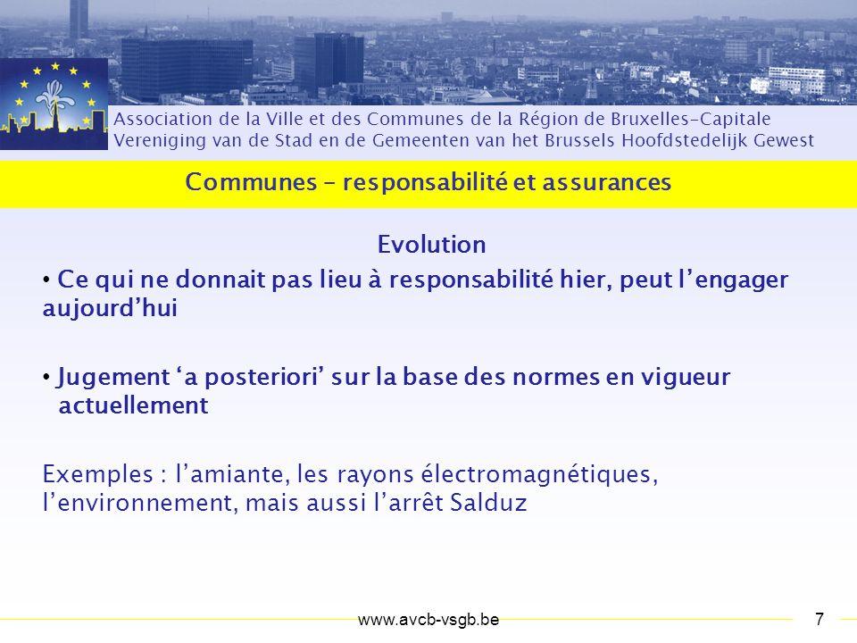 Association de la Ville et des Communes de la Région de Bruxelles-Capitale Vereniging van de Stad en de Gemeenten van het Brussels Hoofdstedelijk Gewest Communes – responsabilité et assurances Questions .