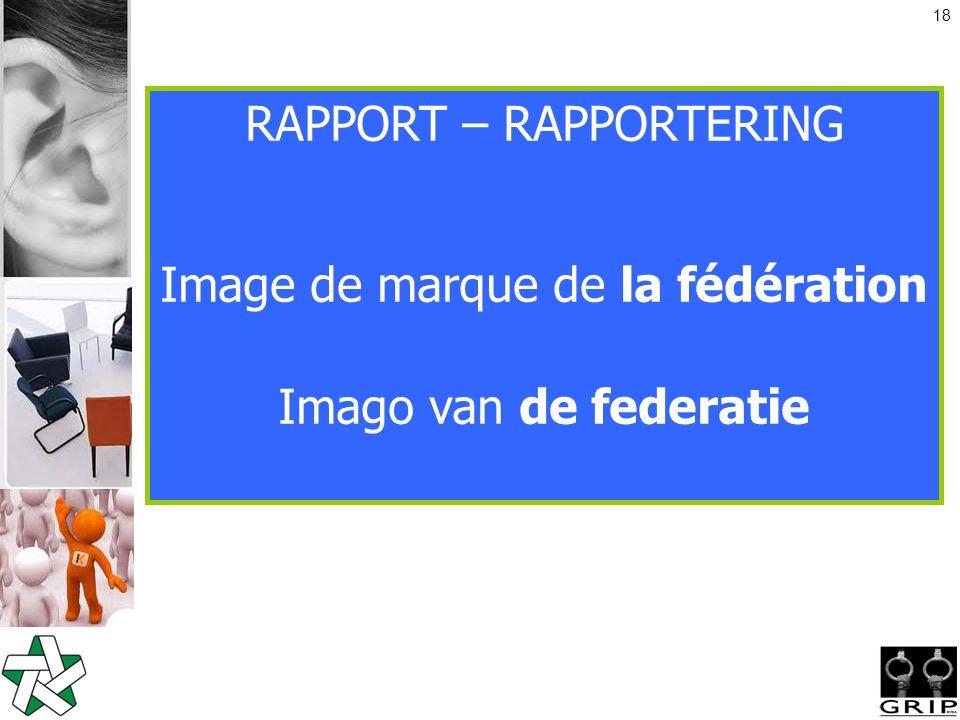 18 RAPPORT – RAPPORTERING Image de marque de la fédération Imago van de federatie