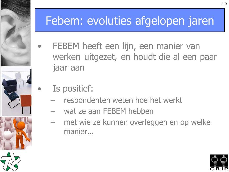 20 Febem: evoluties afgelopen jaren FEBEM heeft een lijn, een manier van werken uitgezet, en houdt die al een paar jaar aan Is positief: –respondenten weten hoe het werkt –wat ze aan FEBEM hebben –met wie ze kunnen overleggen en op welke manier…