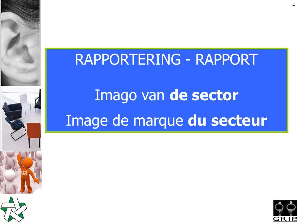4 RAPPORTERING - RAPPORT Imago van de sector Image de marque du secteur