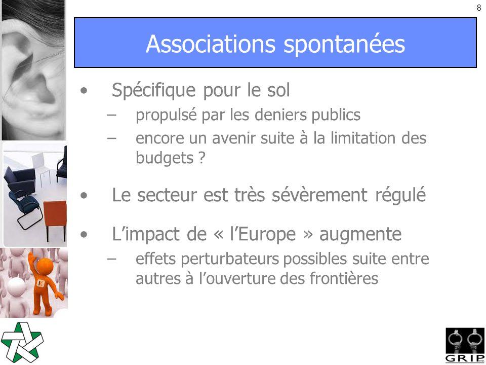 8 Associations spontanées Spécifique pour le sol –propulsé par les deniers publics –encore un avenir suite à la limitation des budgets .