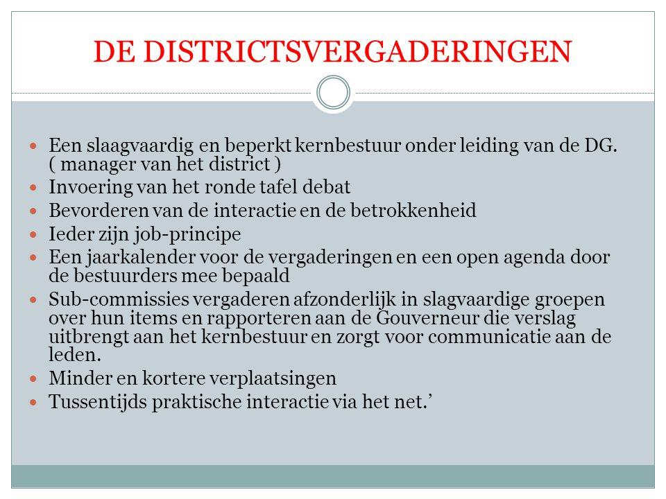 DE DISTRICTSVERGADERINGEN Een slaagvaardig en beperkt kernbestuur onder leiding van de DG. ( manager van het district ) Invoering van het ronde tafel