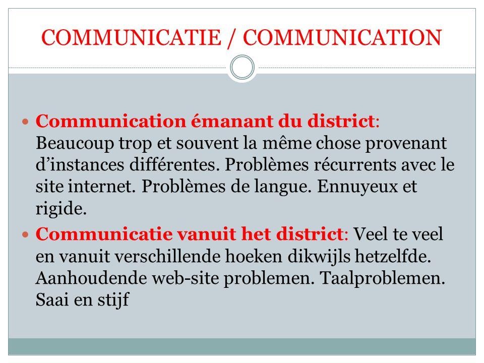 COMMUNICATIE / COMMUNICATION Communication émanant du district: Beaucoup trop et souvent la même chose provenant d'instances différentes. Problèmes ré