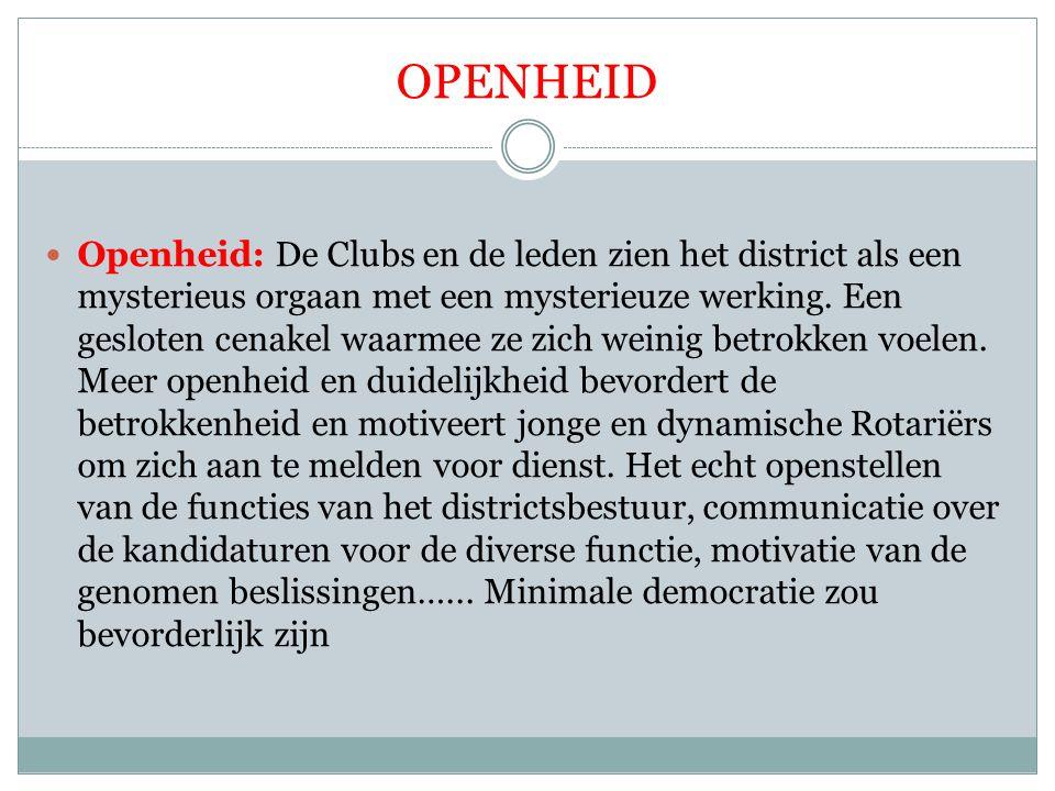 OPENHEID Openheid: De Clubs en de leden zien het district als een mysterieus orgaan met een mysterieuze werking. Een gesloten cenakel waarmee ze zich
