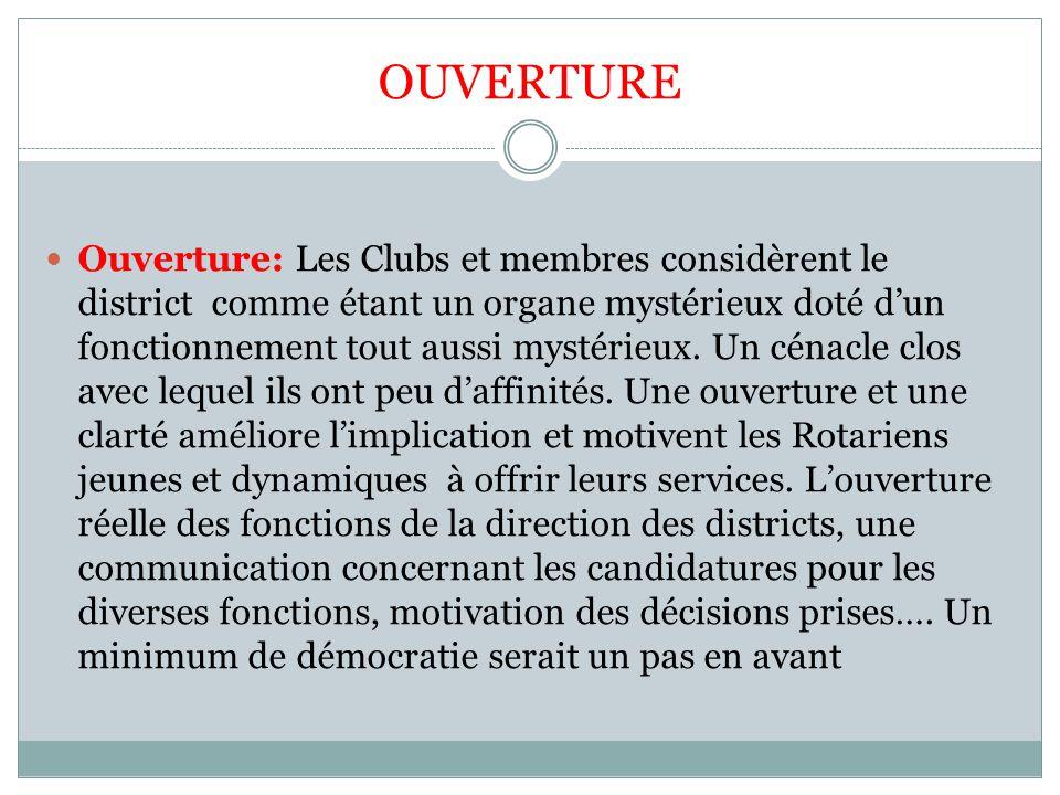 OUVERTURE Ouverture: Les Clubs et membres considèrent le district comme étant un organe mystérieux doté d'un fonctionnement tout aussi mystérieux. Un