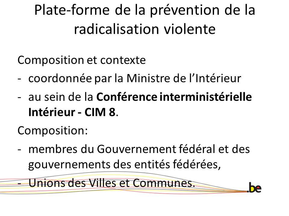 Plate-forme de la prévention de la radicalisation violente Composition et contexte -coordonnée par la Ministre de l'Intérieur -au sein de la Conférence interministérielle Intérieur - CIM 8.