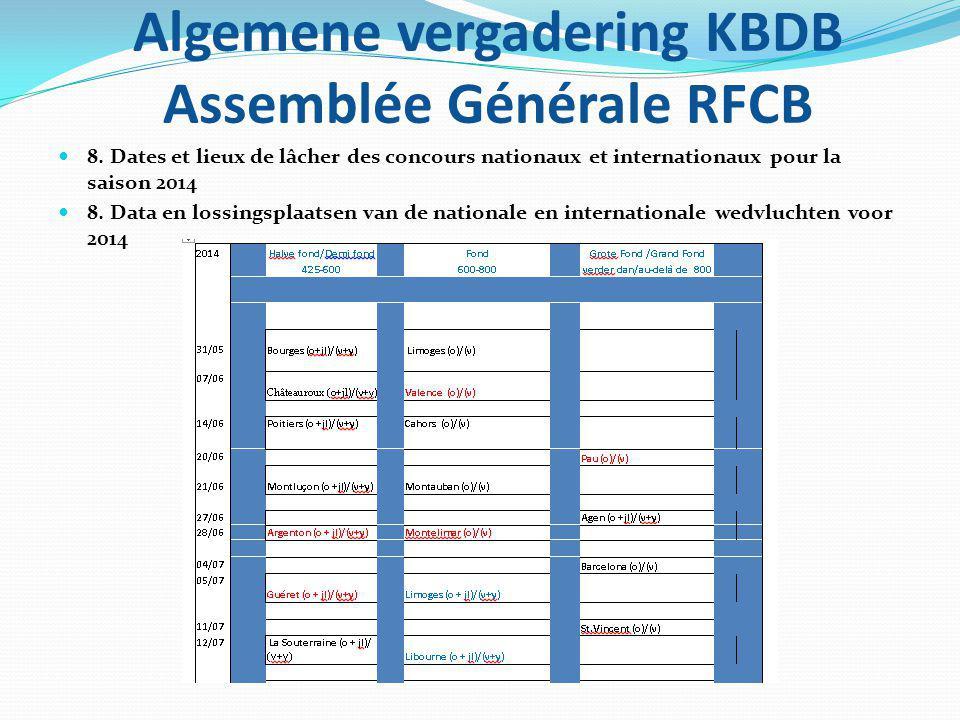 Algemene vergadering KBDB Assemblée Générale RFCB 8. Dates et lieux de lâcher des concours nationaux et internationaux pour la saison 2014 8. Data en