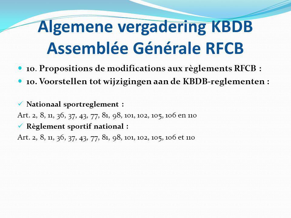 Algemene vergadering KBDB Assemblée Générale RFCB 10. Propositions de modifications aux règlements RFCB : 10. Voorstellen tot wijzigingen aan de KBDB-