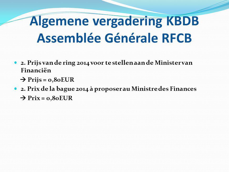 Algemene vergadering KBDB Assemblée Générale RFCB 2. Prijs van de ring 2014 voor te stellen aan de Minister van Financiën  Prijs = 0,80EUR 2. Prix de