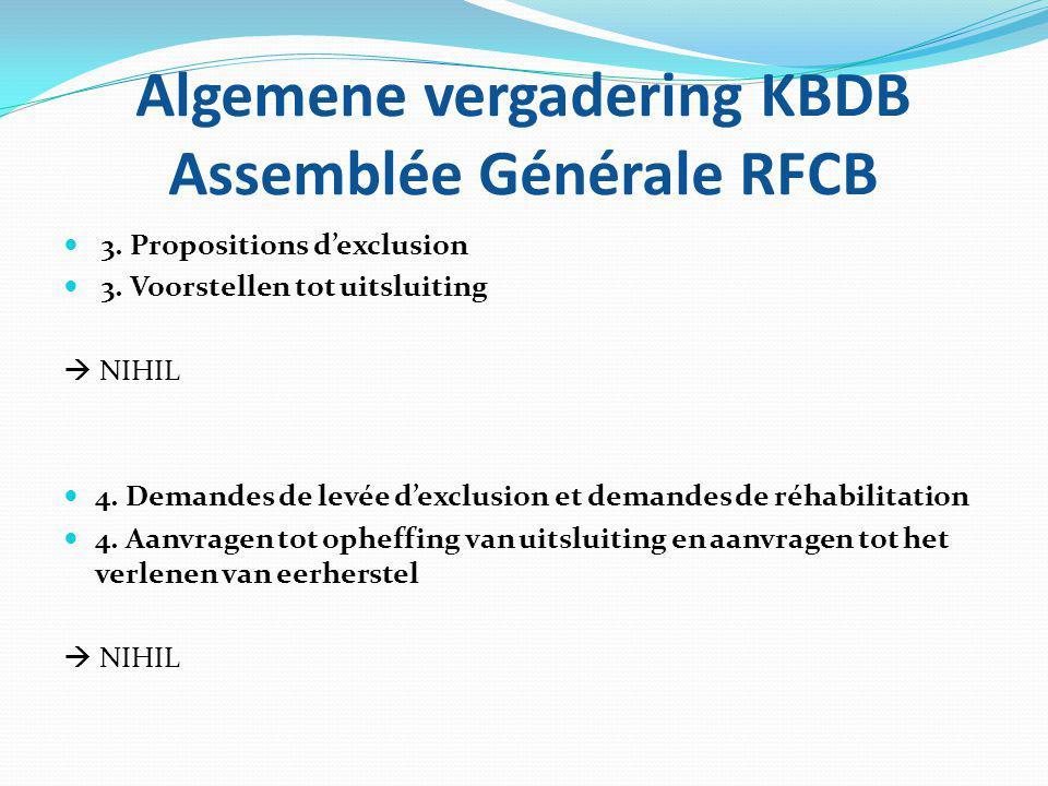Algemene vergadering KBDB Assemblée Générale RFCB 3. Propositions d'exclusion 3. Voorstellen tot uitsluiting  NIHIL 4. Demandes de levée d'exclusion