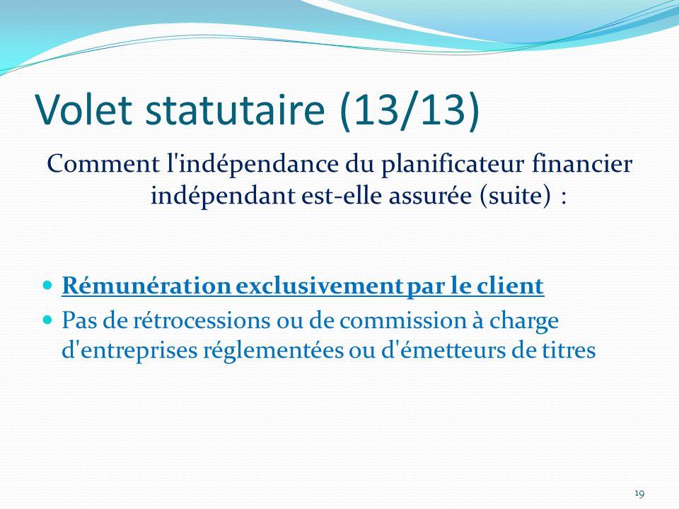 Volet statutaire (13/13) Comment l indépendance du planificateur financier indépendant est-elle assurée (suite) : Rémunération exclusivement par le client Pas de rétrocessions ou de commission à charge d entreprises réglementées ou d émetteurs de titres 19
