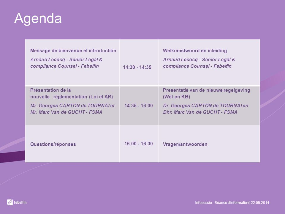 Agenda Infosessie - Séance d information | 22.05.2014 Message de bienvenue et introduction Arnaud Lecocq - Senior Legal & compliance Counsel - Febelfin 14:30 - 14:35 Welkomstwoord en inleiding Arnaud Lecocq - Senior Legal & compliance Counsel - Febelfin Présentation de la nouvelle réglementation (Loi et AR) Mr.