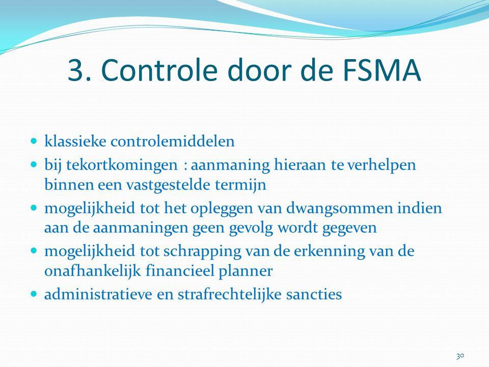 3. Controle door de FSMA klassieke controlemiddelen bij tekortkomingen : aanmaning hieraan te verhelpen binnen een vastgestelde termijn mogelijkheid t