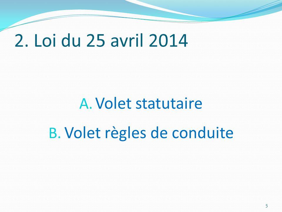 2. Loi du 25 avril 2014 A. Volet statutaire B. Volet règles de conduite 5