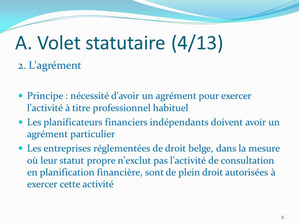 A. Volet statutaire (4/13) 2.