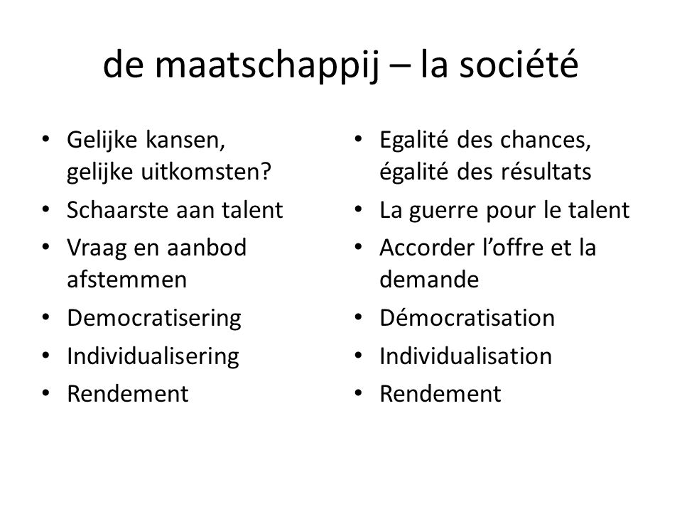 de maatschappij – la société Gelijke kansen, gelijke uitkomsten.