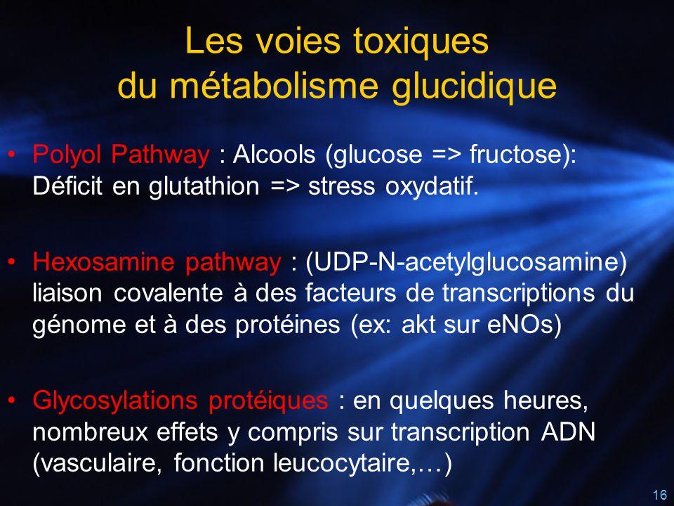 16 Polyol Pathway : Alcools (glucose => fructose): Déficit en glutathion => stress oxydatif. Hexosamine pathway : (UDP-N-acetylglucosamine) liaison co