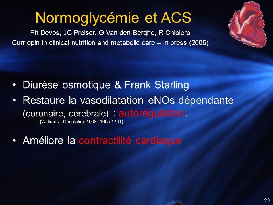 23 Diurèse osmotique & Frank Starling Restaure la vasodilatation eNOs dépendante (coronaire, cérébrale) : autorégulation. (Williams – Circulation 1998