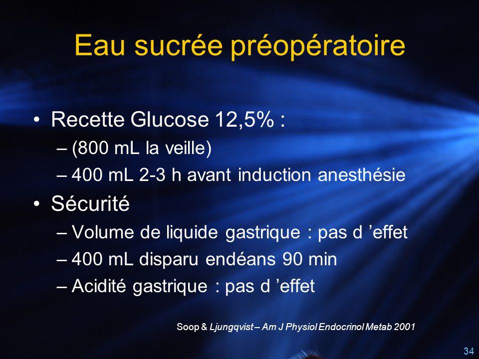 34 Eau sucrée préopératoire Recette Glucose 12,5% : –(800 mL la veille) –400 mL 2-3 h avant induction anesthésie Sécurité –Volume de liquide gastrique