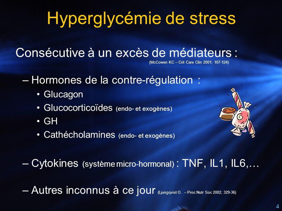 4 Hyperglycémie de stress Consécutive à un excès de médiateurs : (McCowen KC – Crit Care Clin 2001; 107-124) –Hormones de la contre-régulation : Gluca