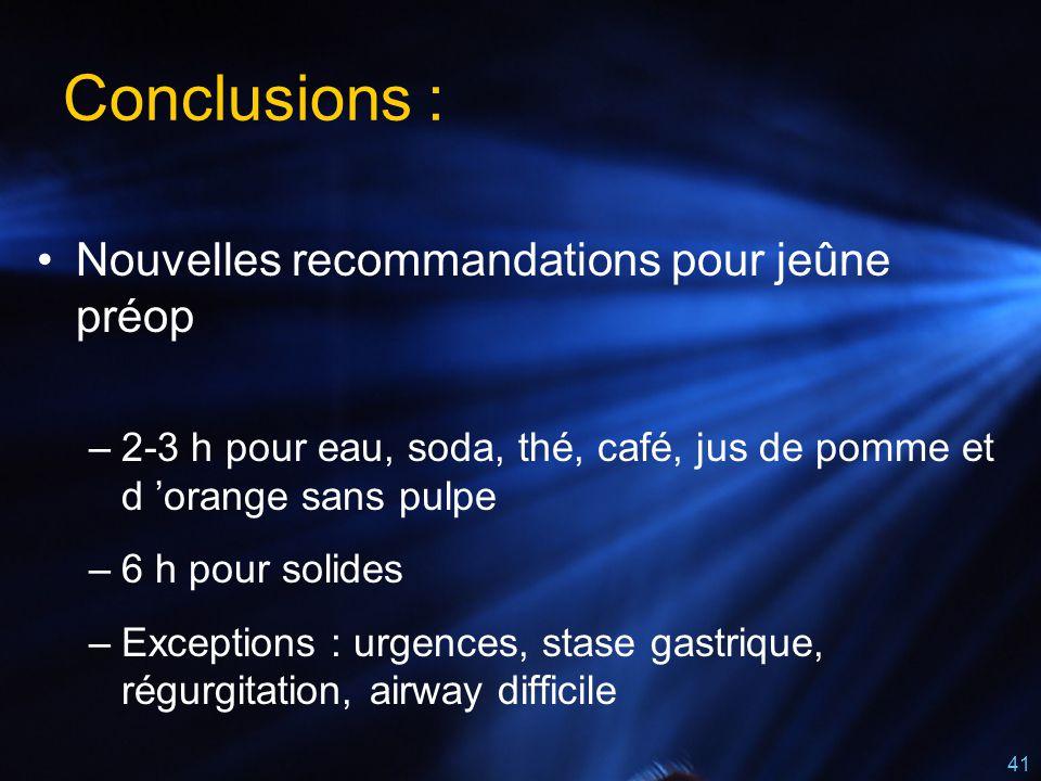 41 Conclusions : Nouvelles recommandations pour jeûne préop –2-3 h pour eau, soda, thé, café, jus de pomme et d 'orange sans pulpe –6 h pour solides –