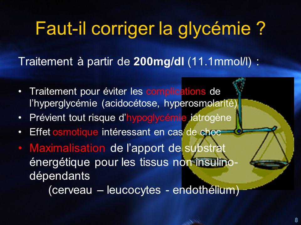 8 Faut-il corriger la glycémie ? Traitement à partir de 200mg/dl (11.1mmol/l) : Traitement pour éviter les complications de l'hyperglycémie (acidocéto