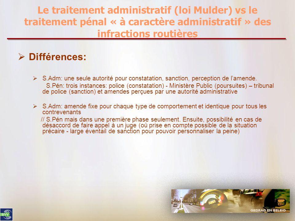 Le traitement administratif (loi Mulder) vs le traitement pénal « à caractère administratif » des infractions routières  Différences:  S.Adm: une seule autorité pour constatation, sanction, perception de l'amende.